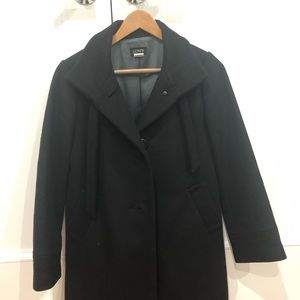JCrew Wool Cashmere Funnel Neck Black Coat